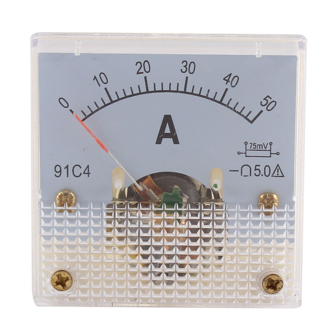 91C4 DC 0-50A Rectangle Mini Analog Panel Ammeter Gauge Amperemeter Class 5