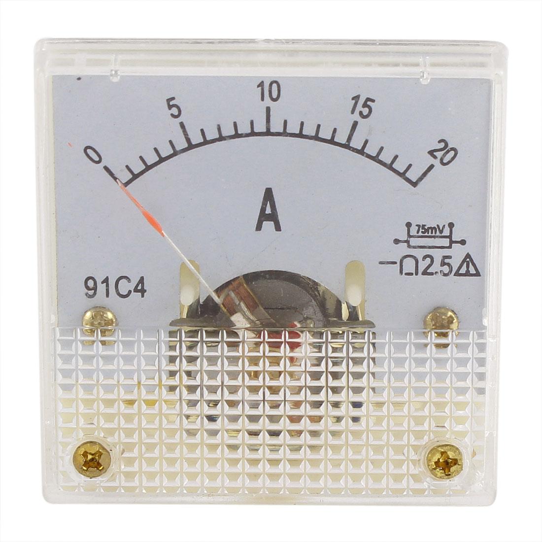 91C4 DC 0-20A Rectangle Mini Analog Panel Ammeter Gauge Amperemeter Class 2.5