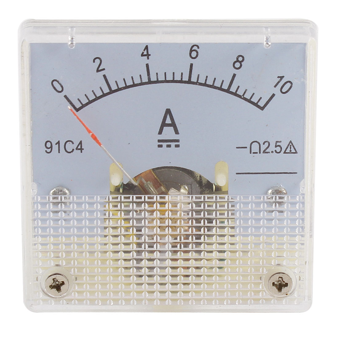 91C4 DC 0-10A Rectangle Mini Analog Panel Ammeter Gauge Amperemeter Class 2.5