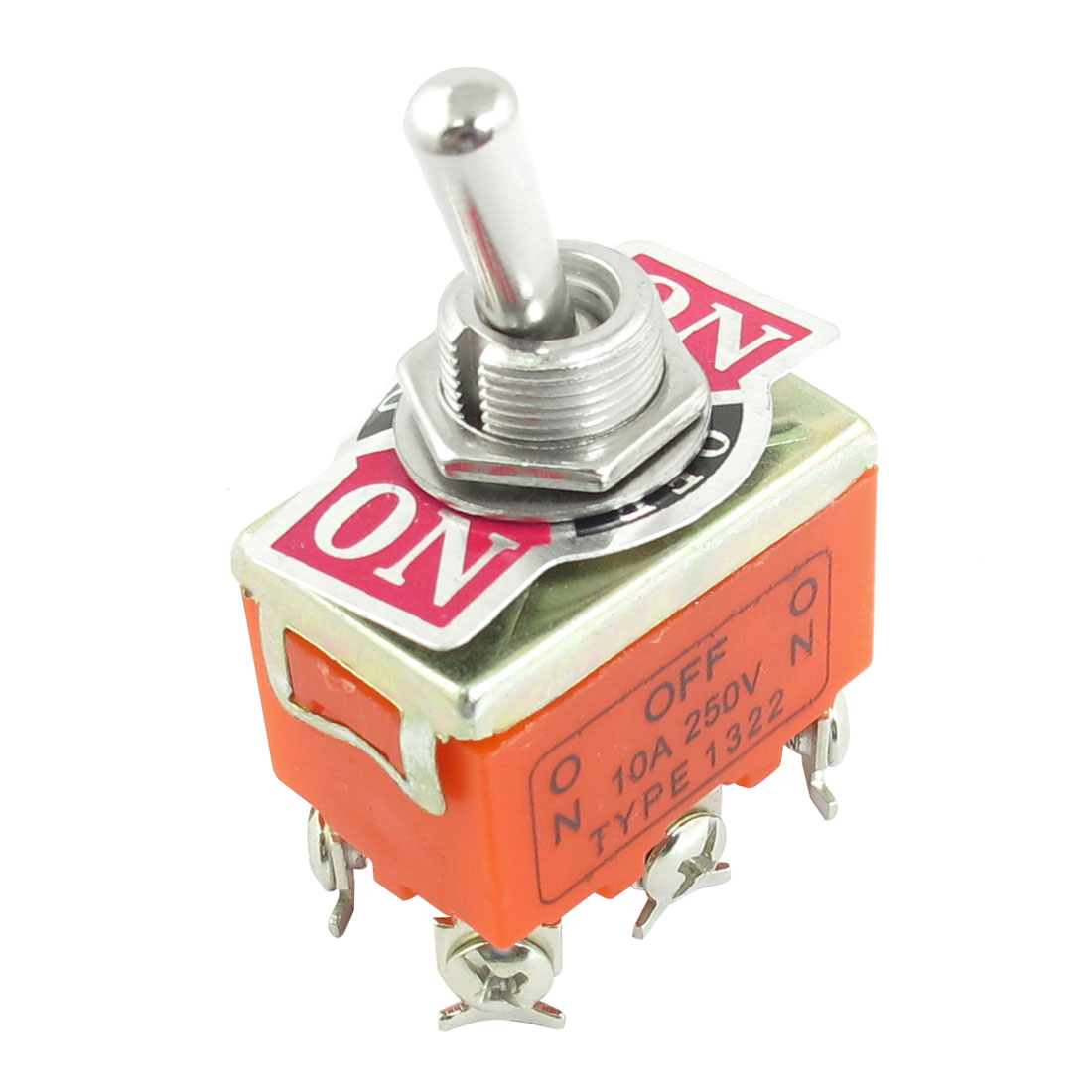 AC 250V 10A Latching On-Off-On 6 Terminal Double Pole Single Throw Toggle Switch