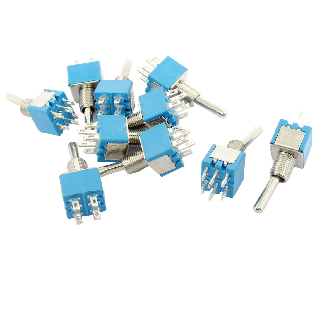 AC 125V 6A DPDT 2 Position ON/ON 6 Pins Latching Rocker Toggle Switch 10 Pcs