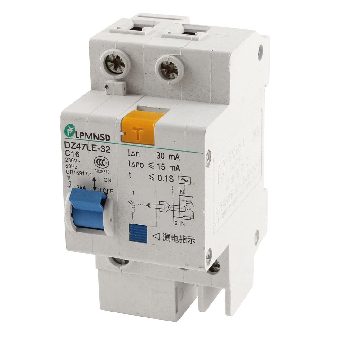 AC 230V 16A DIN Dail 1P Overload Proetction Circuit Breaker DZ47LE-32 C16