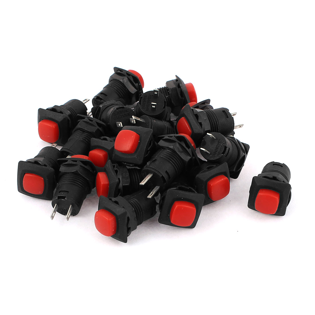AC 125V/3A 250V/1.5A Self Locking Red Off/On Push Button Switch 20 Pcs
