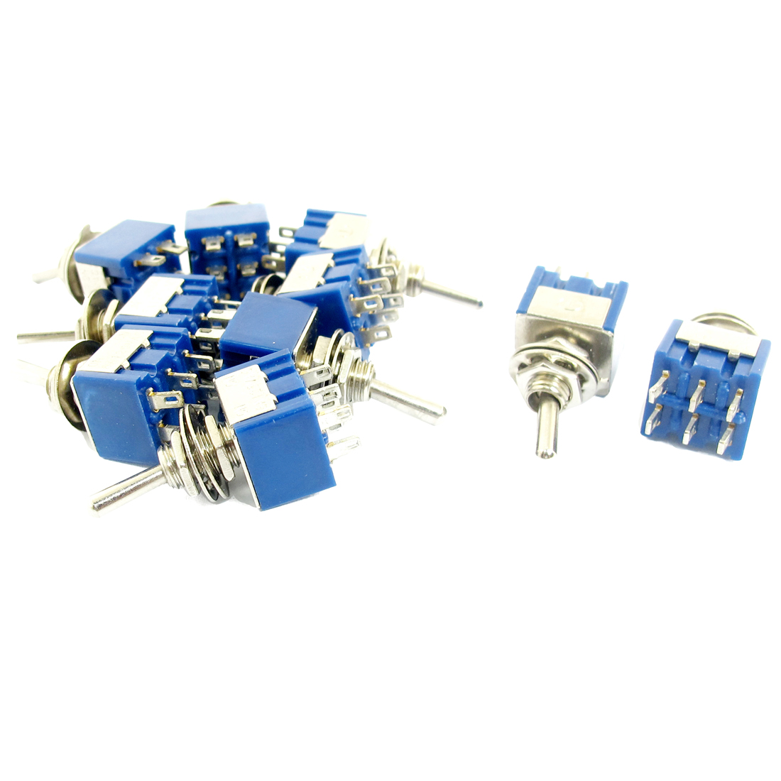 AC 125V 6A DPDT 2 Position ON/ON 6 Pins Self-lock Toggle Switch 10 Pcs Blue