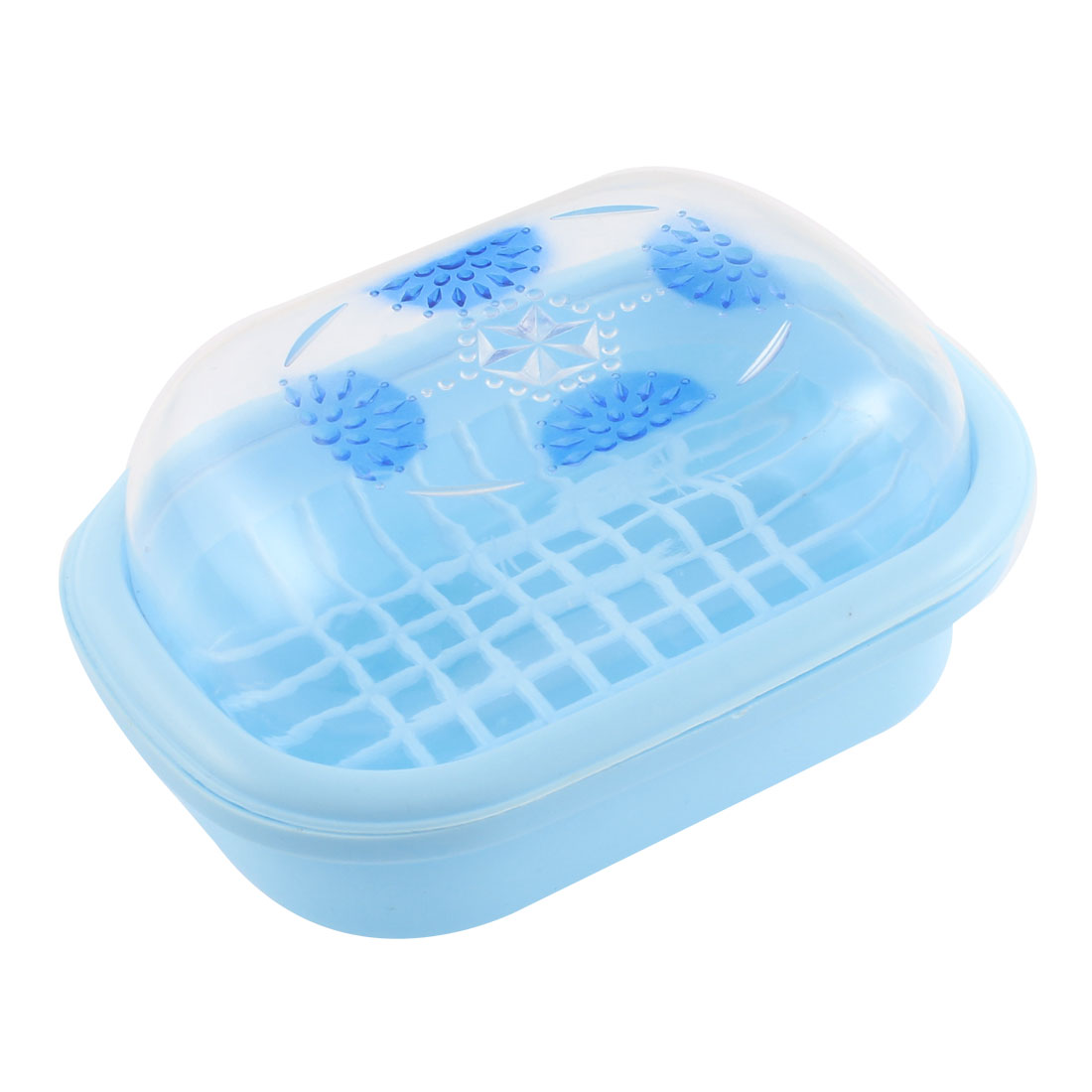 Plastic Clear Cover Bathroom Soap Box Holder Case Container Blue