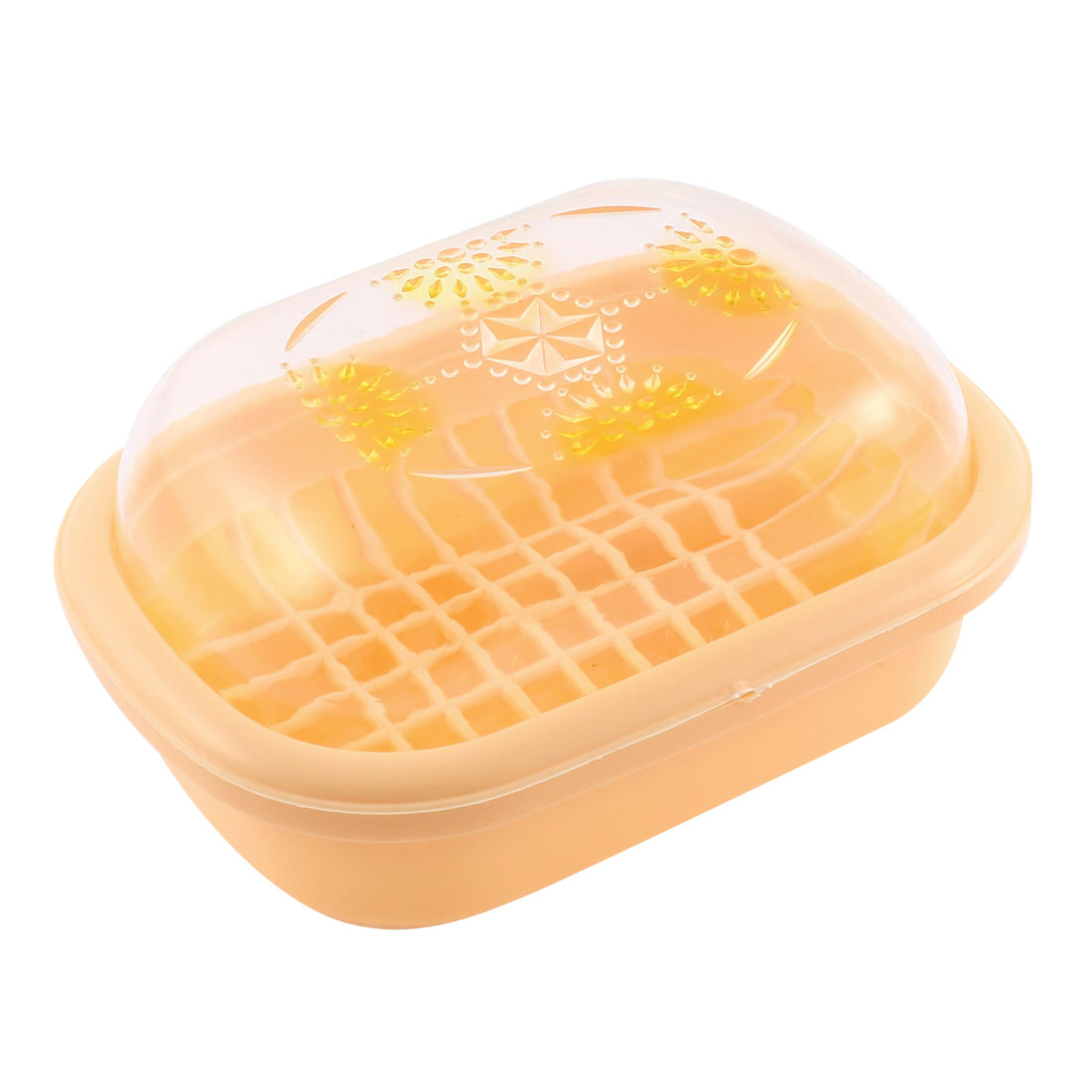 Plastic Double Layers Bathroom Soap Dish Case Box Holder Apricot Color