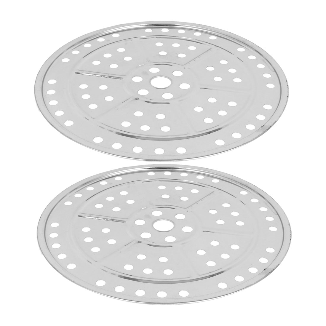 "2pcs 9.4"" Stainless Steel Kitchen Cooking Steamer Rack Plate Silver Tone"