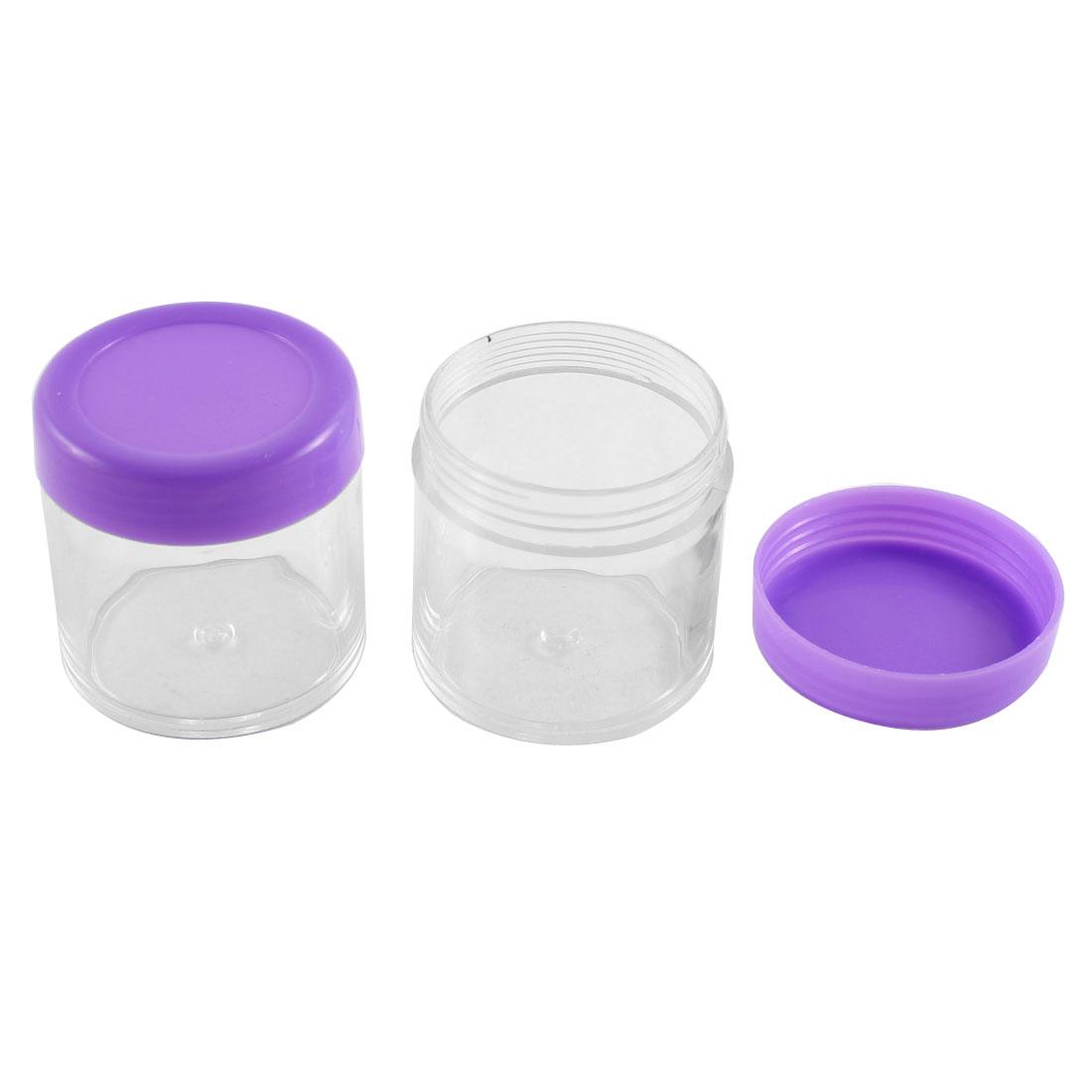 2Pcs Plastic Clear Cream Jar Lotion Bottle Makeup Container Purple
