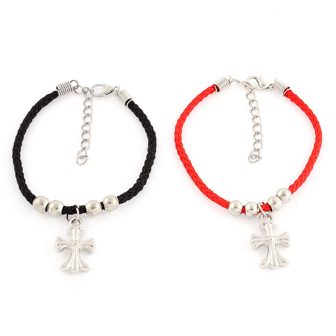 2Pcs Nylon String Buckle Chain Pendant Design Couple Bracelet Bangle