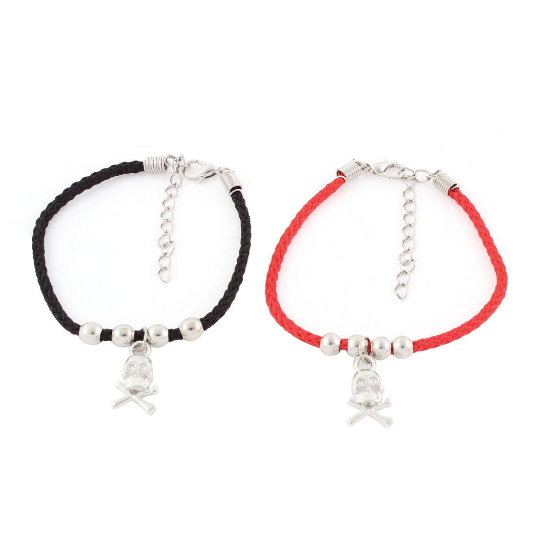 2Pcs Nylon String Buckle Chain Skull Pendant Couple Bracelets Bangle