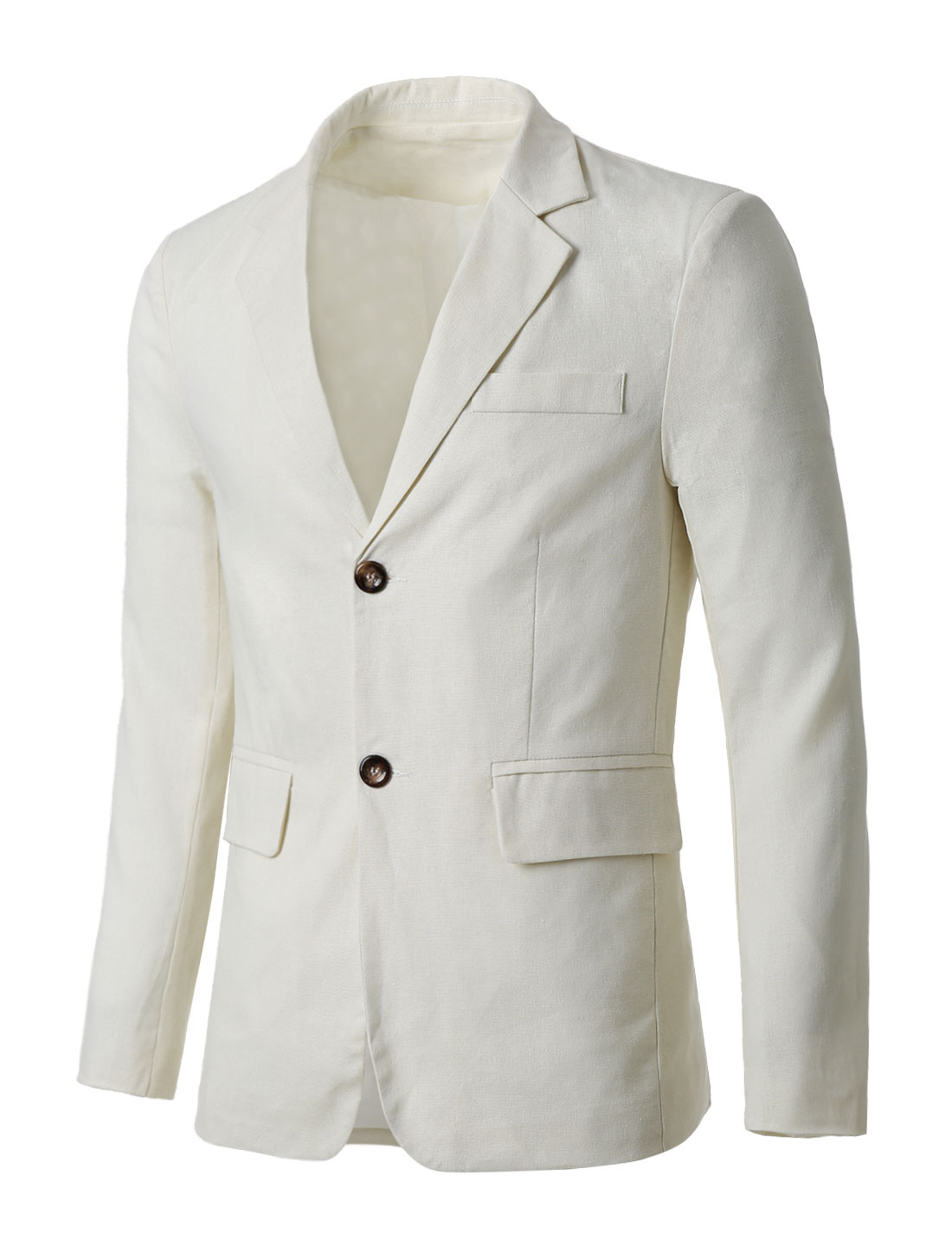 Man Notched Lapel Padded Shoulders Two-Button Long Sleeves Blazer Off White S