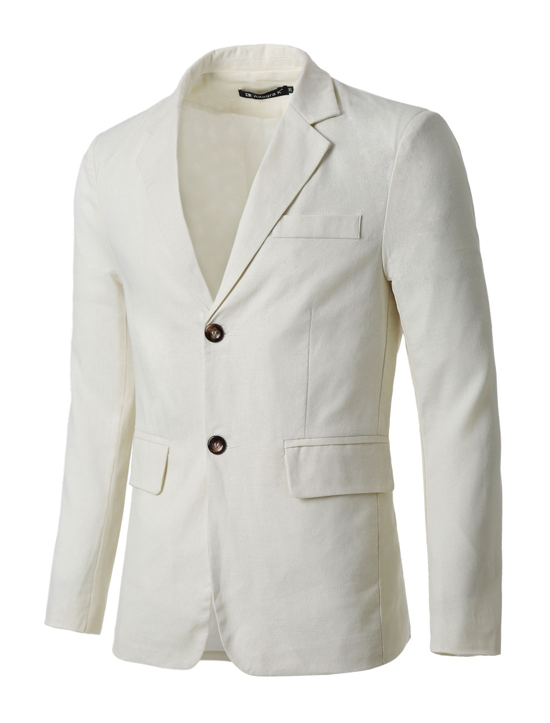 Man Notched Lapel Padded Shoulders Two-Button Closure Front Blazer Off White L