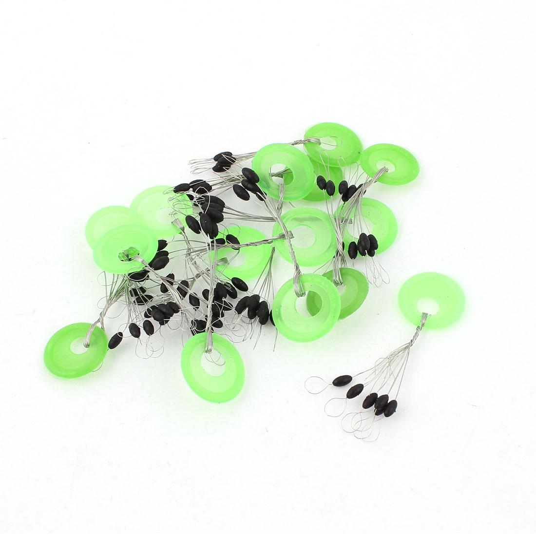 15Pcs Plastic Round Ring Oval Float Fishing Bobber Stopper Green Black