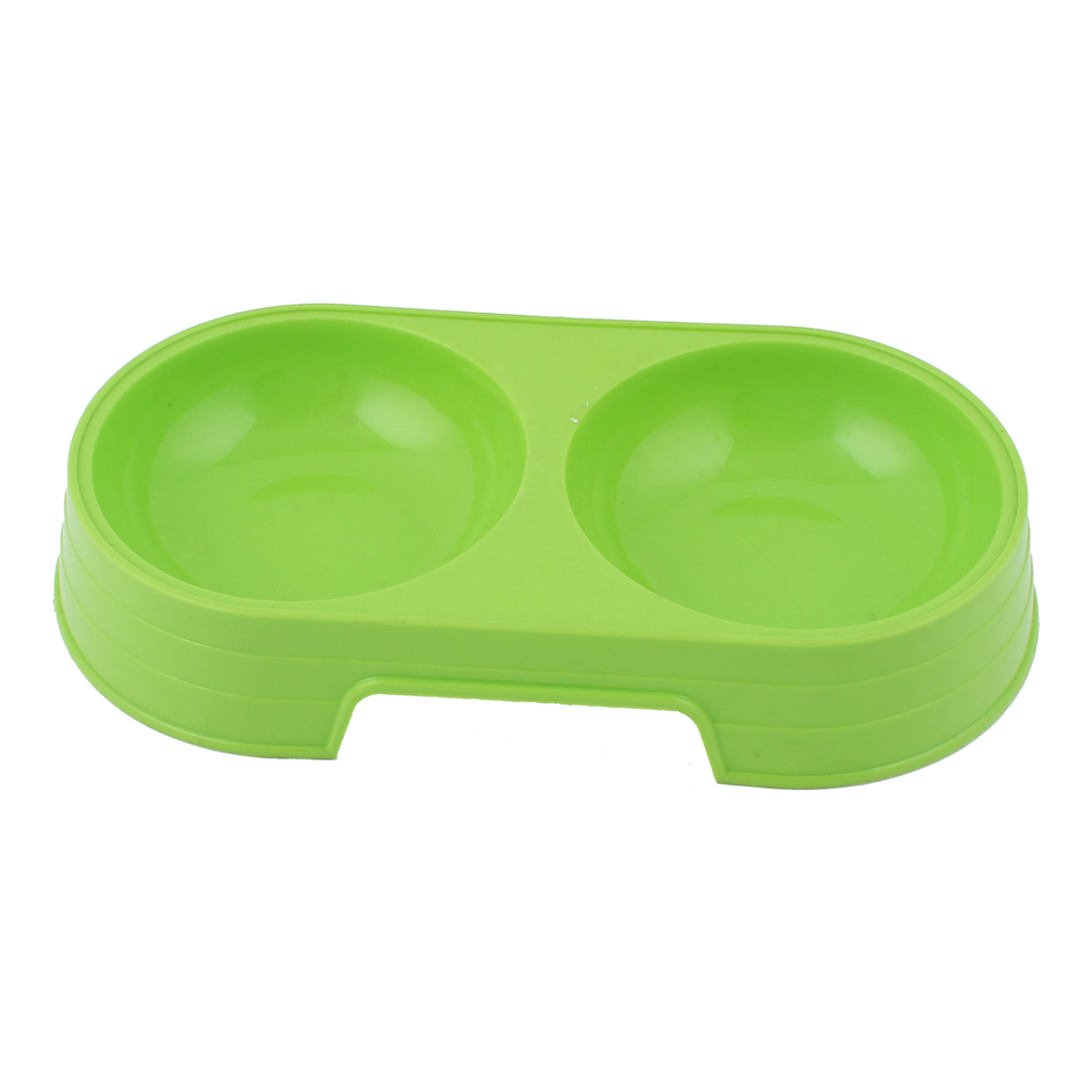 Green Plastic Pet Dog Doggy Dual Feeder Food Water Feeding Bowl Dish