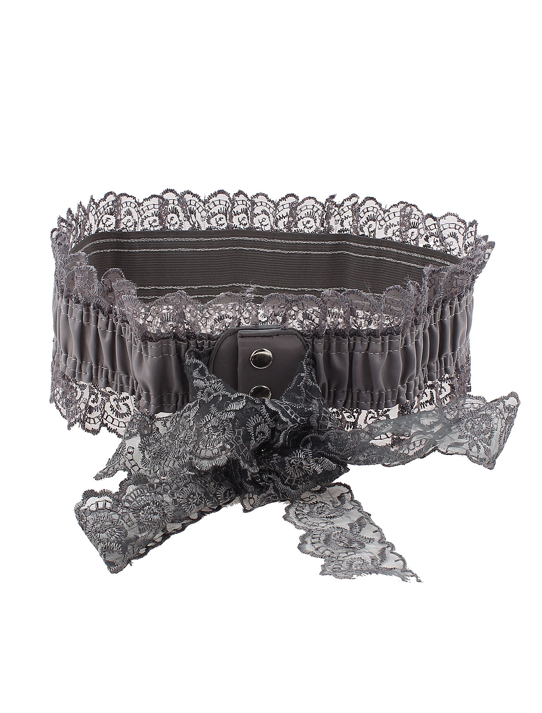 Woman Press Button Lace Edge Detail Stretchy Waist Corset Cinch Belt Band Gray