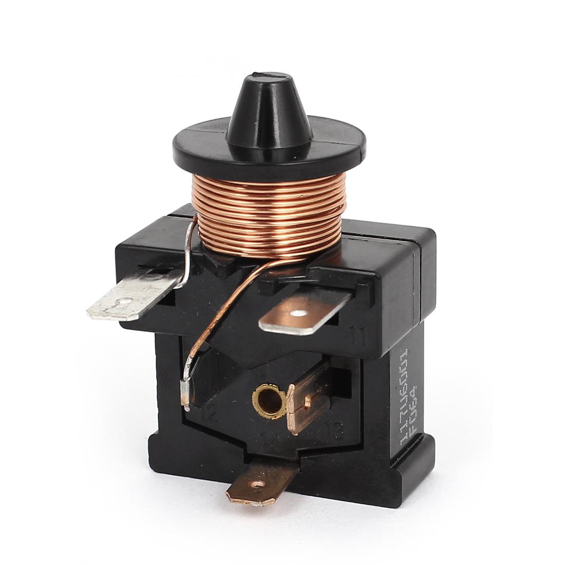1/5HP Refrigerator Freezer Overload Thermal Protector Relay Starter Black
