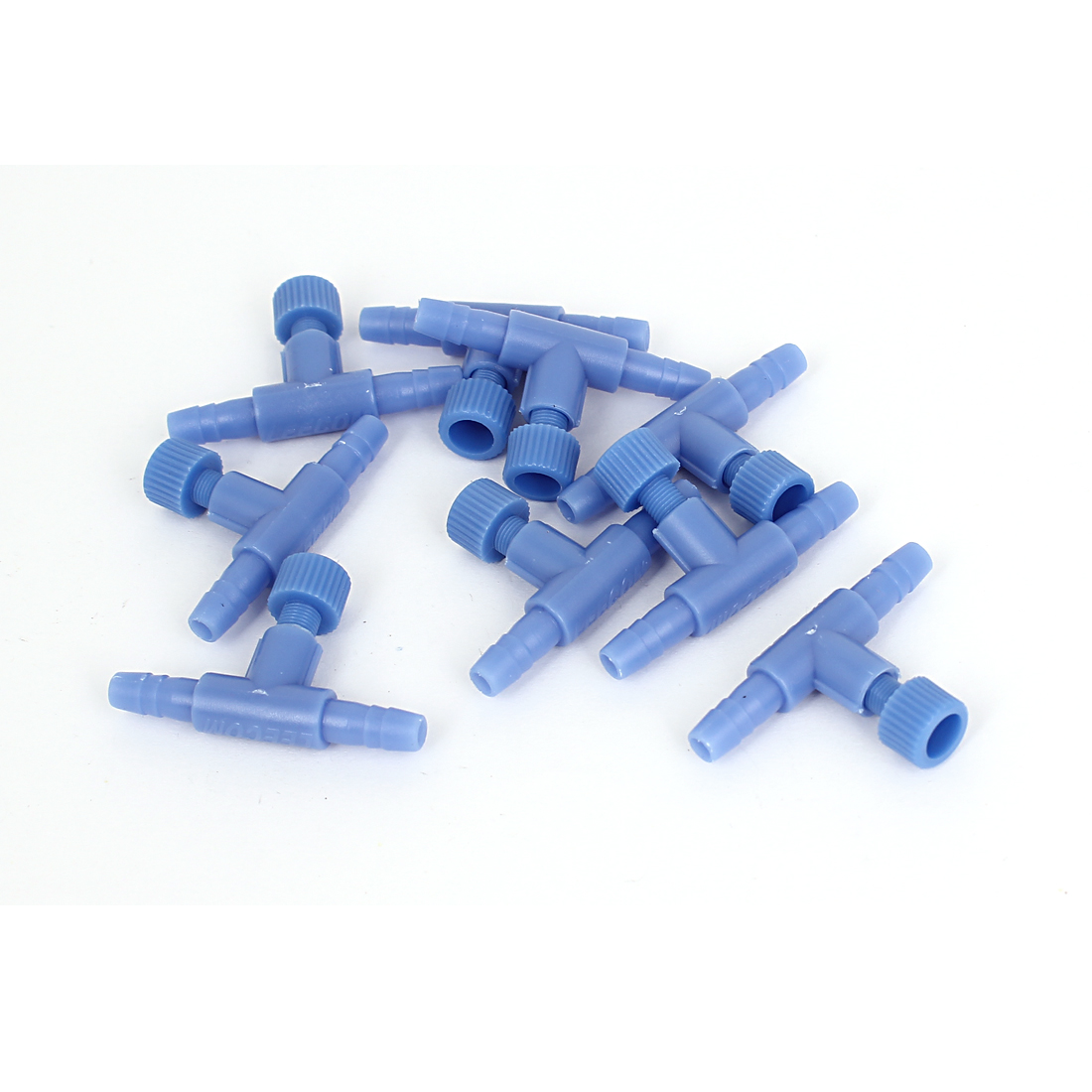 Fish Tank Aquarium T Shaped Air Line Tubing Control Valve Blue 9 Pcs