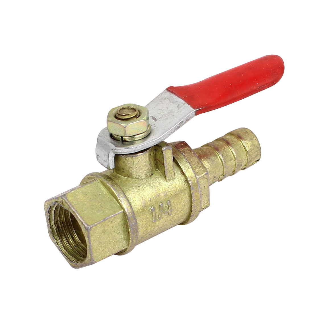 1/4BSP Female Thread 8mm Barb Tail Ball Valve Connector Pneumatic Brass Fitting