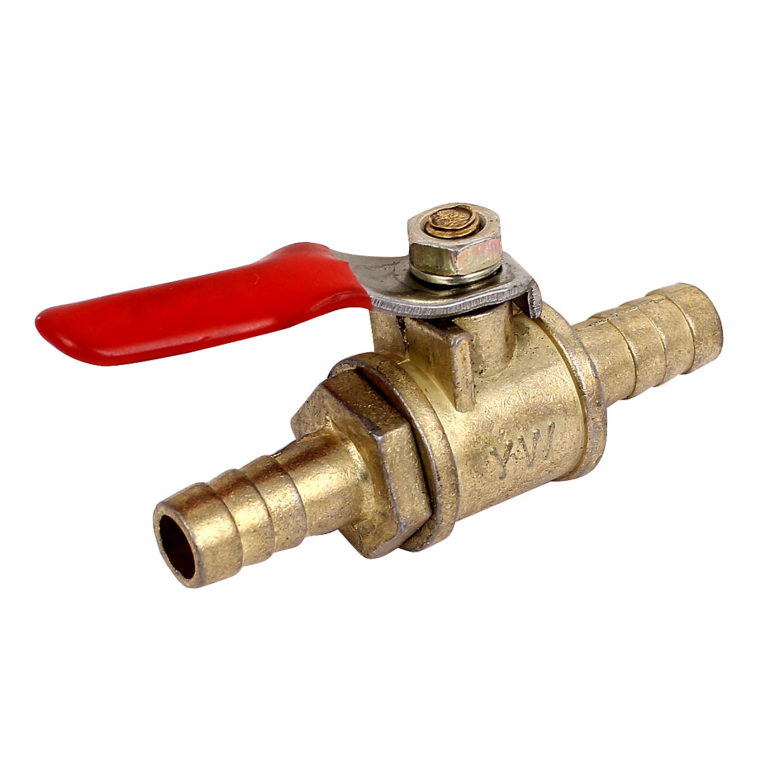 "8mm 5/16"" Hose Barb Inline Brass Water Oil Air Gas Fuel Line Shutoff Ball Valve"