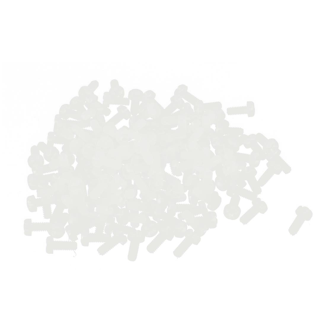 M2 x 5mm Nylon 6/6 Fillister Head Phillips Drive Machine Screw Off White 100pcs