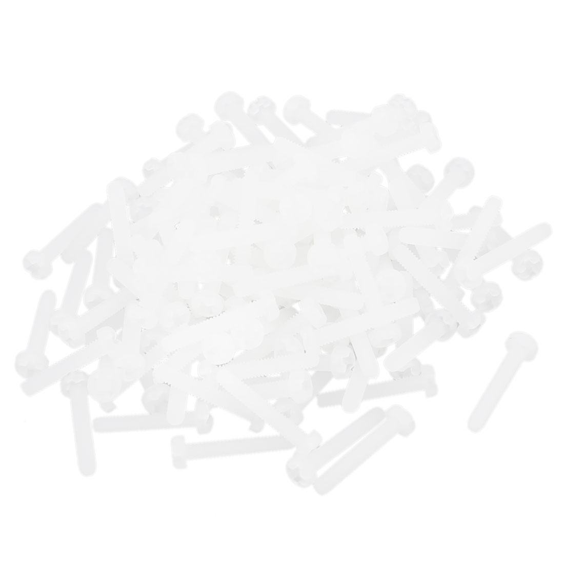M2 x 12mm Nylon 6/6 Fillister Head Phillips Drive Machine Screw Off White 100pcs