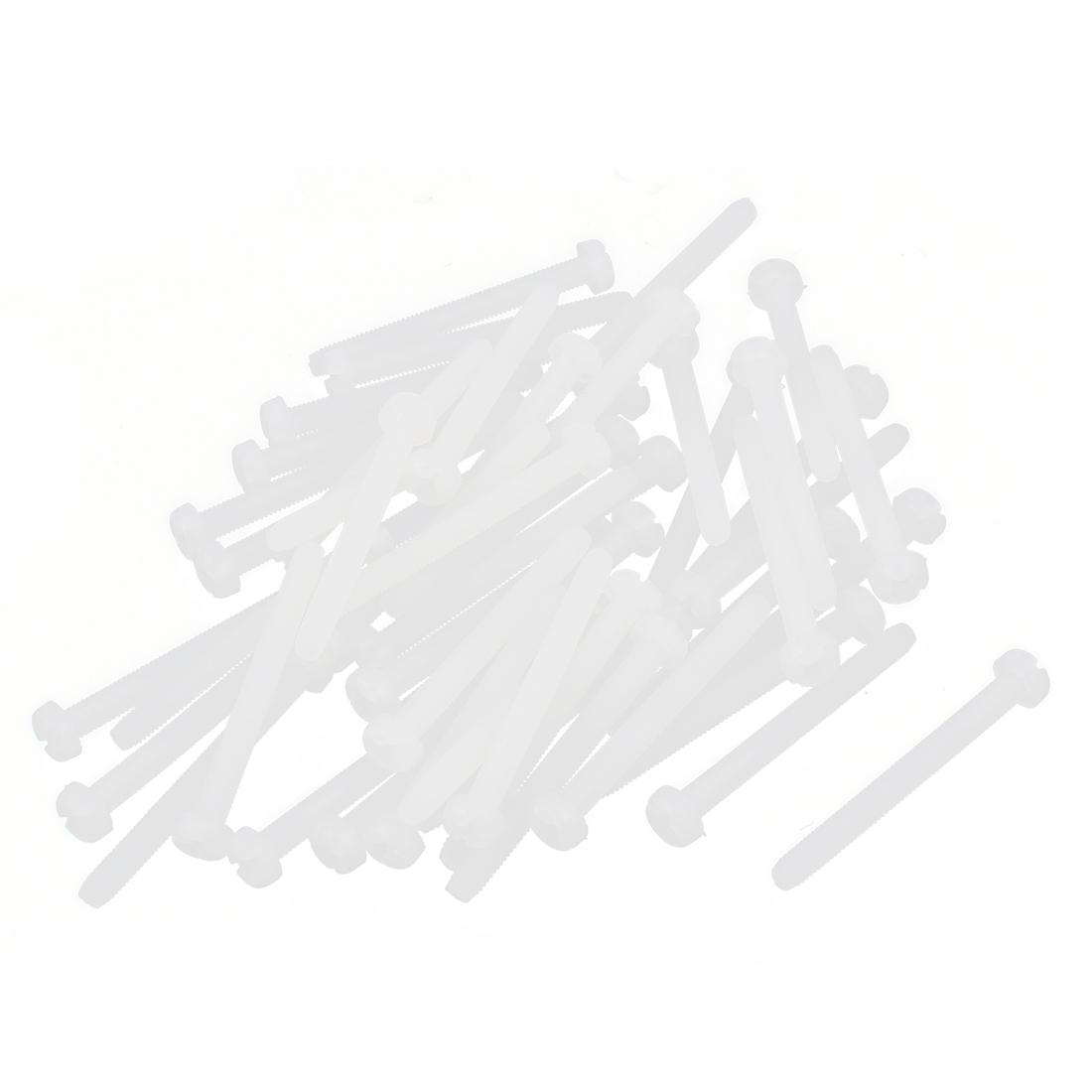 M3 x 30mm Nylon 6/6 Fillister Head Phillips Drive Machine Screws Off White 50pcs