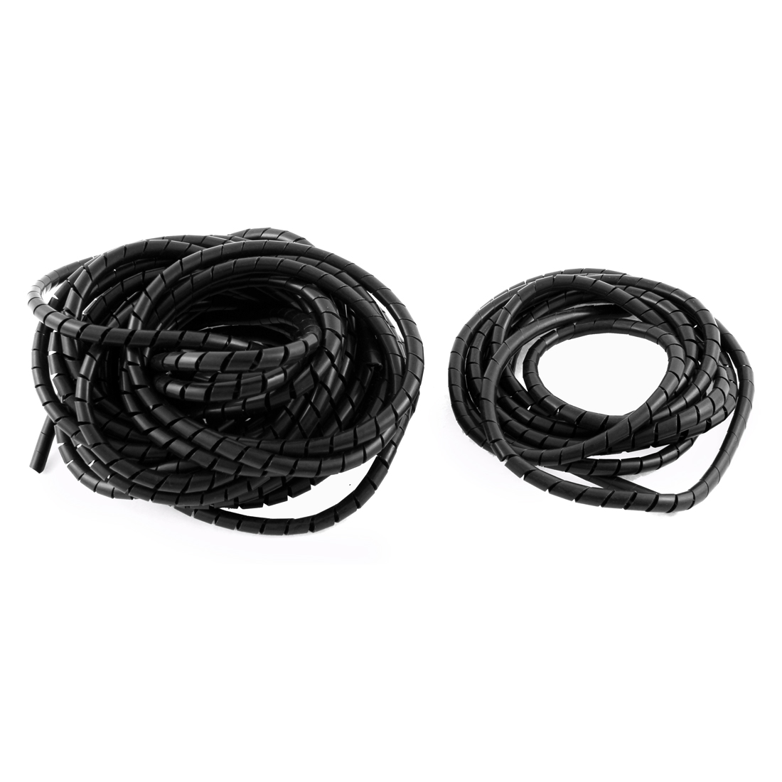 Black Polyethylene Spiral Wrapping Band Cable Wire Manager 6mm Dia 10M 2.5M 2PCS
