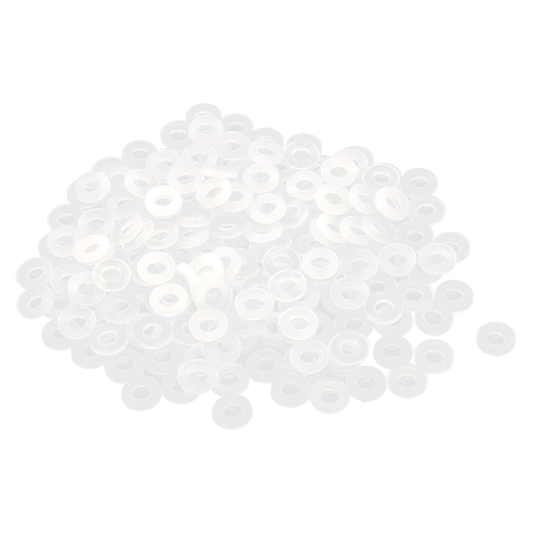 White Round Insulation Nylon Spacer Flat Washer Gasket Ring 3 x 6 x 1mm 100pcs