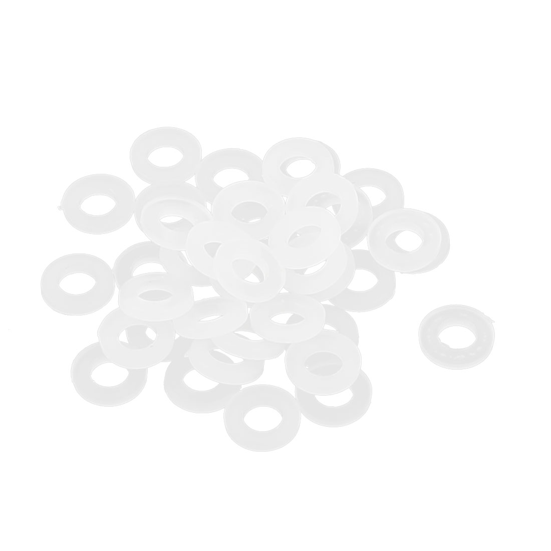 White Round Insulation Nylon Spacer Flat Washer Gasket Ring 3 x 6 x 1mm 50pcs