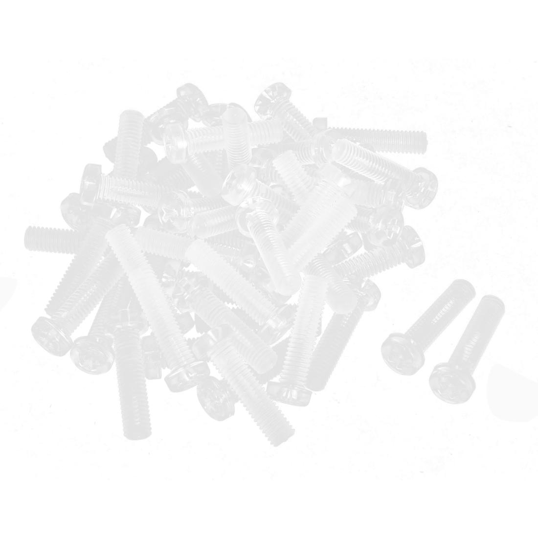 M5 x 20mm Clear Polycarbonate Round Head Cross Phillips Screws Bolt 50pcs