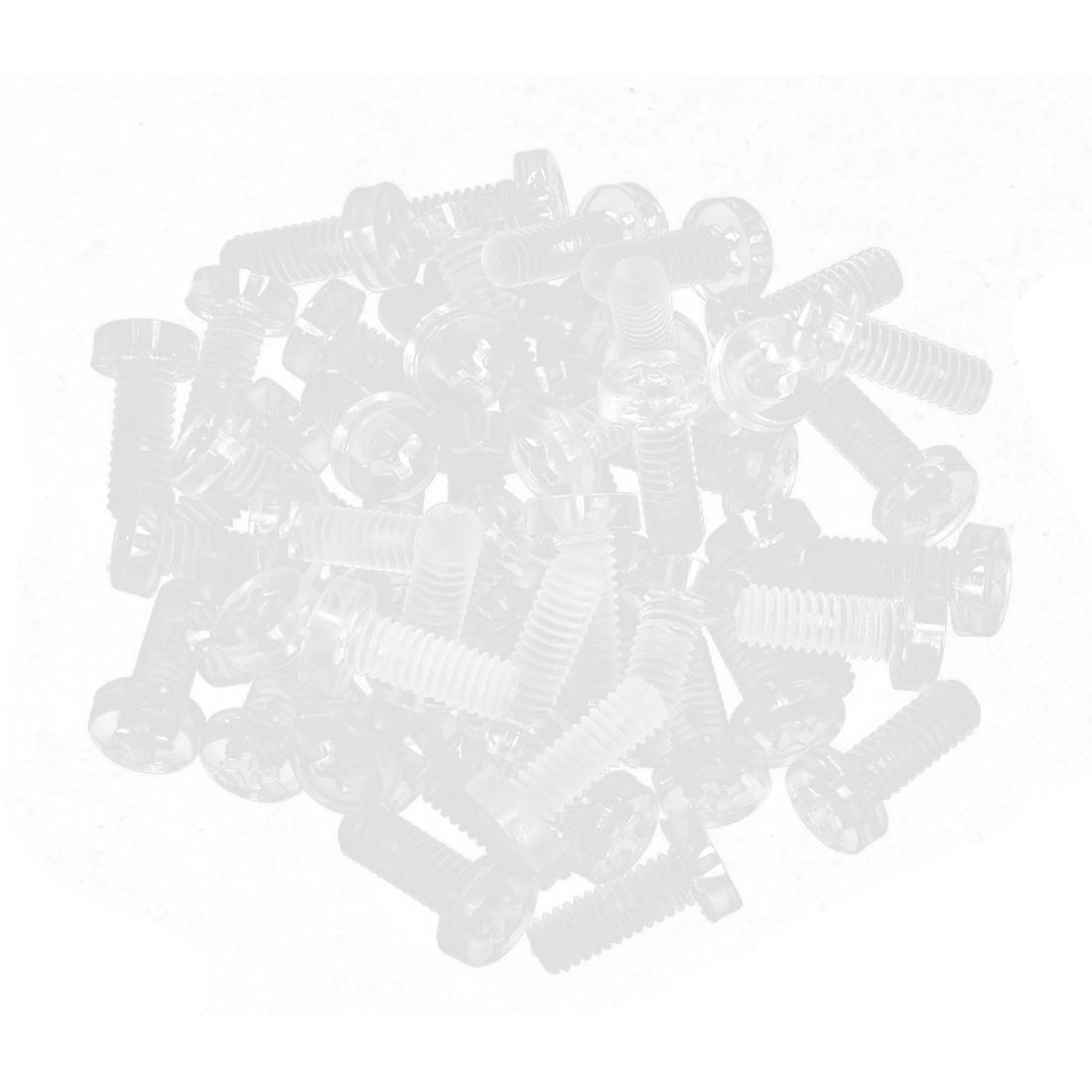 M4 x 12mm Clear Polycarbonate Round Head Cross Phillips Screws Bolt 50pcs