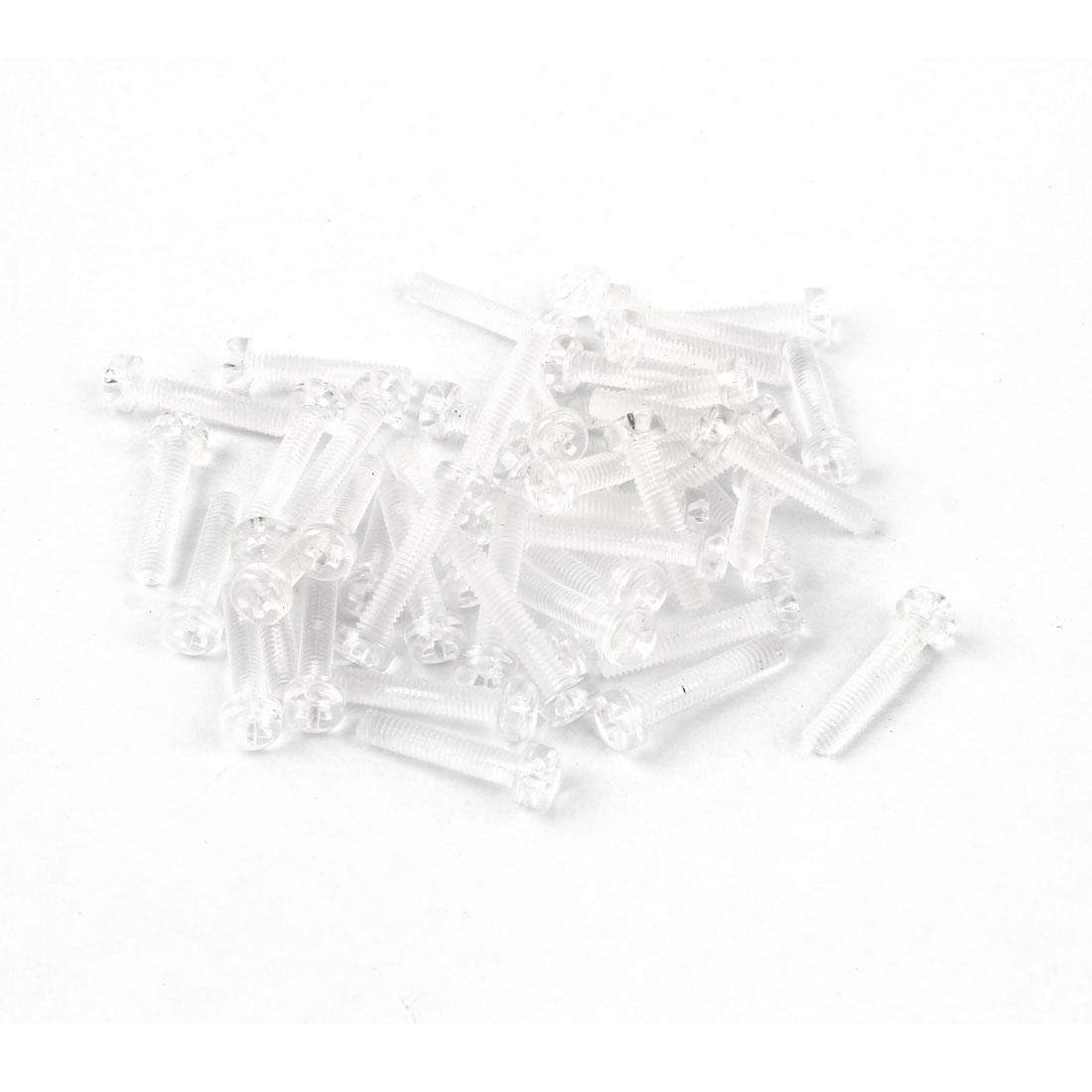 M4 x 20mm Clear Polycarbonate Phillips Round Head Machine Screws 50pcs