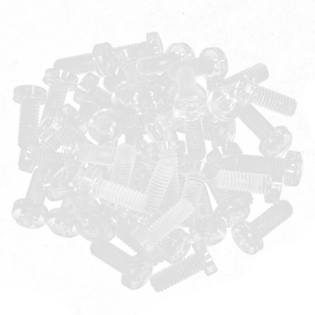 M4 x 10mm Clear Polymeric Carbon Phillips Pan Head Machine Screws 50pcs