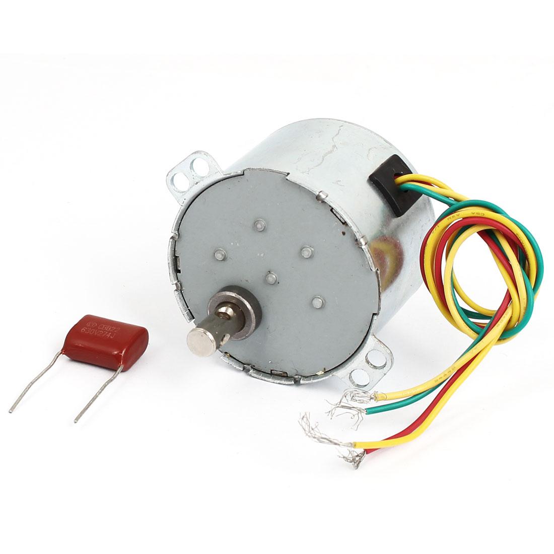AC 220V 50Hz 6W Watt 1.5RPM Synchronized Reduction Gear Motor w Capacitor