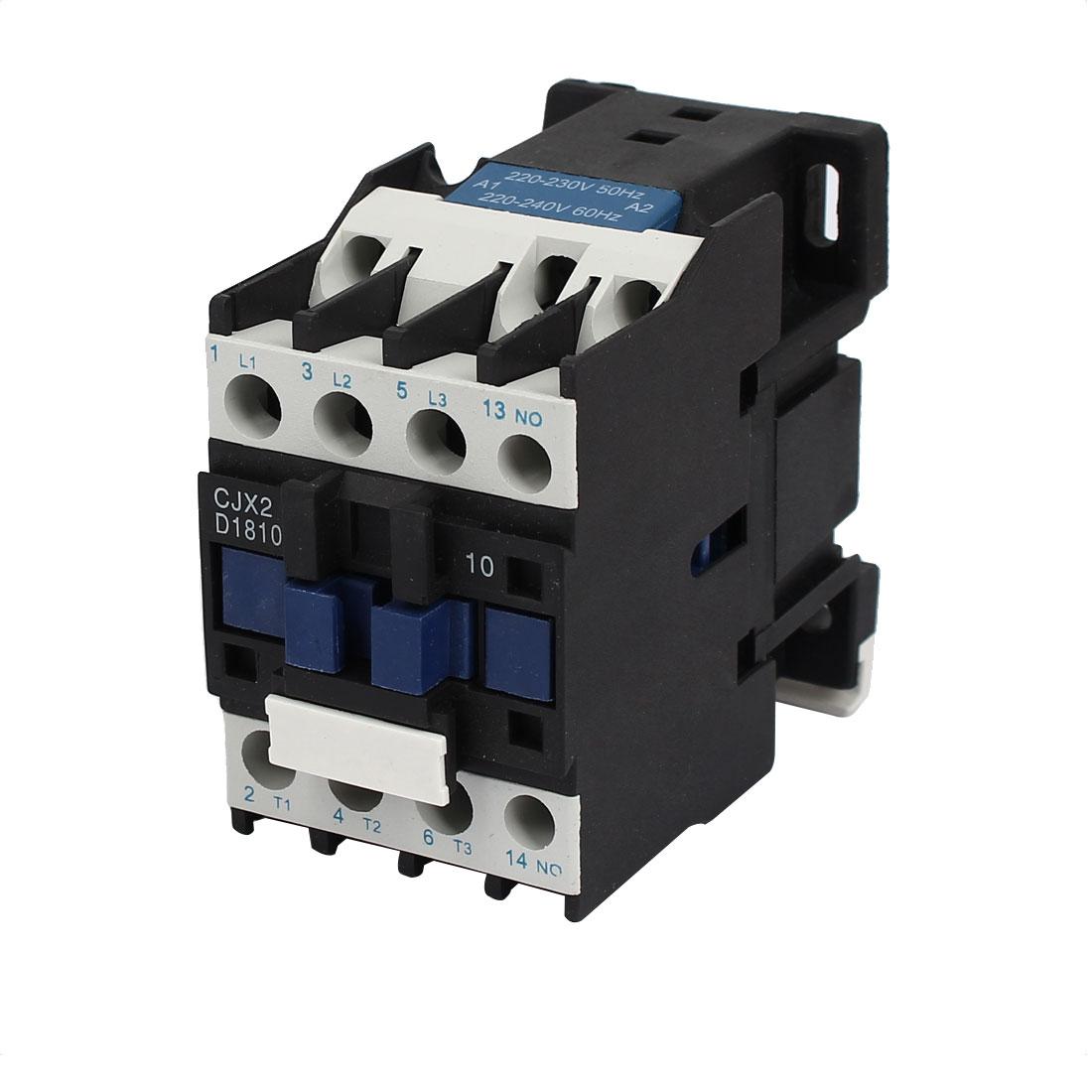 CJX2-D1810 220V Coil 3 Pole Phase 3P 1NO Switch Ith 25A Ui 660V AC Contactor