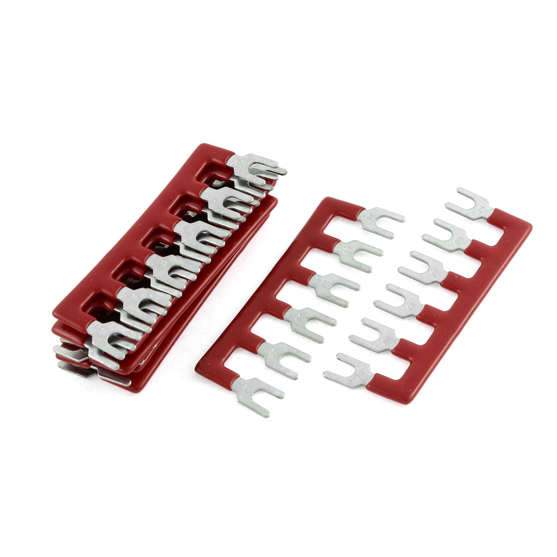 10 Pcs Fork Type 6 Postions Pre Insulated Terminal Strip Block Red 600V 25A