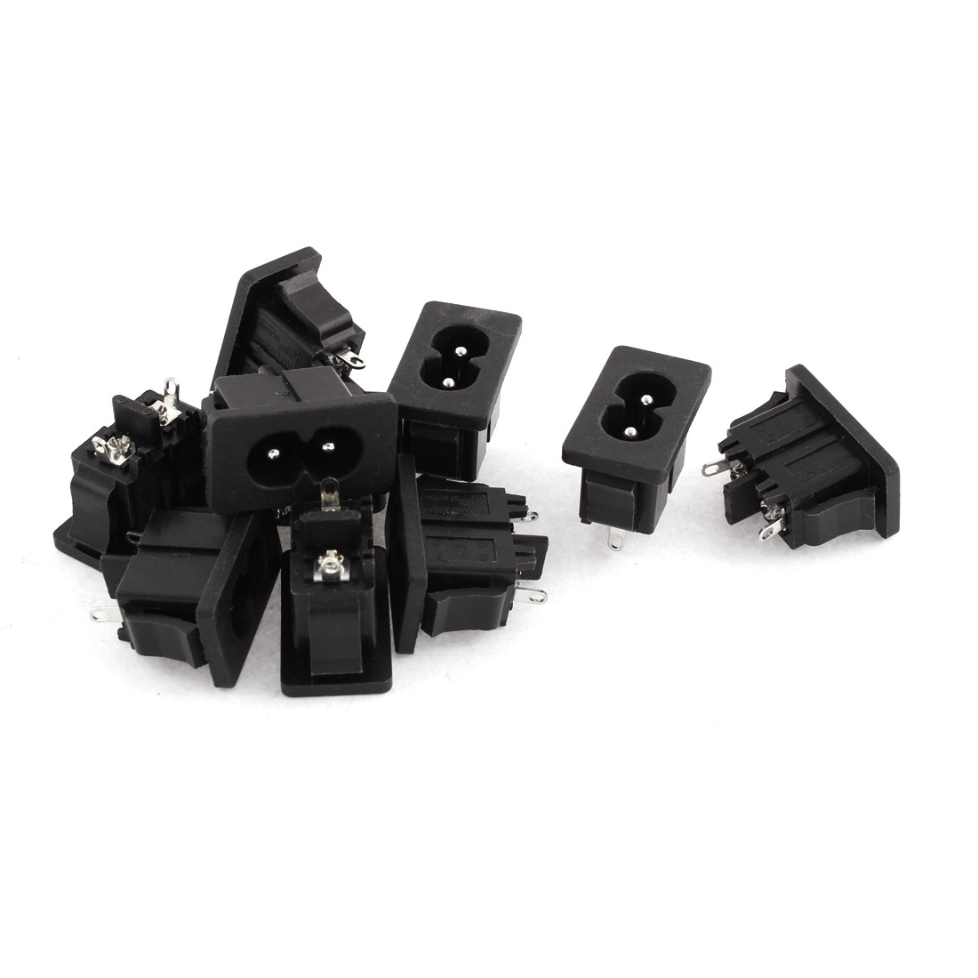 AC 250V 5A 2P Inlet IEC 320 C8 Male Power Socket Connector 10 Pcs