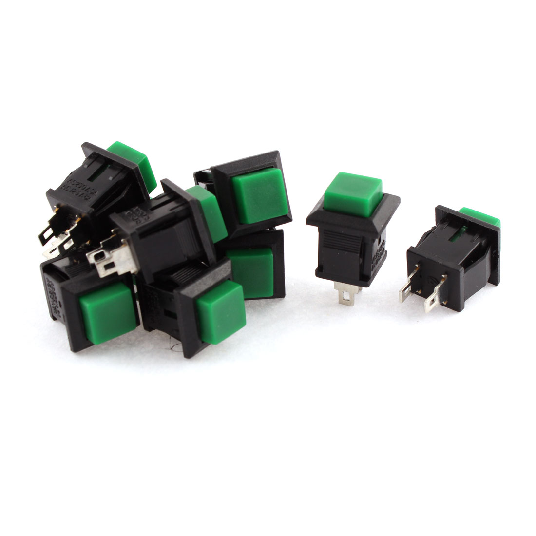 10Pcs SPST Momentary Green Square Pushbutton Switch AC 250V 3A 125V 6A
