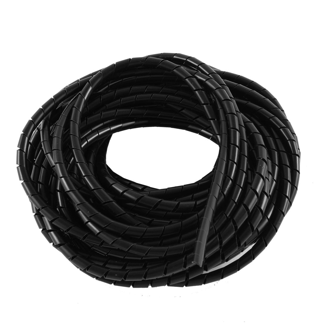 Black Polyethylene Spiral Wrapping Band Cable Wire Manager 6mm Dia 15M Long