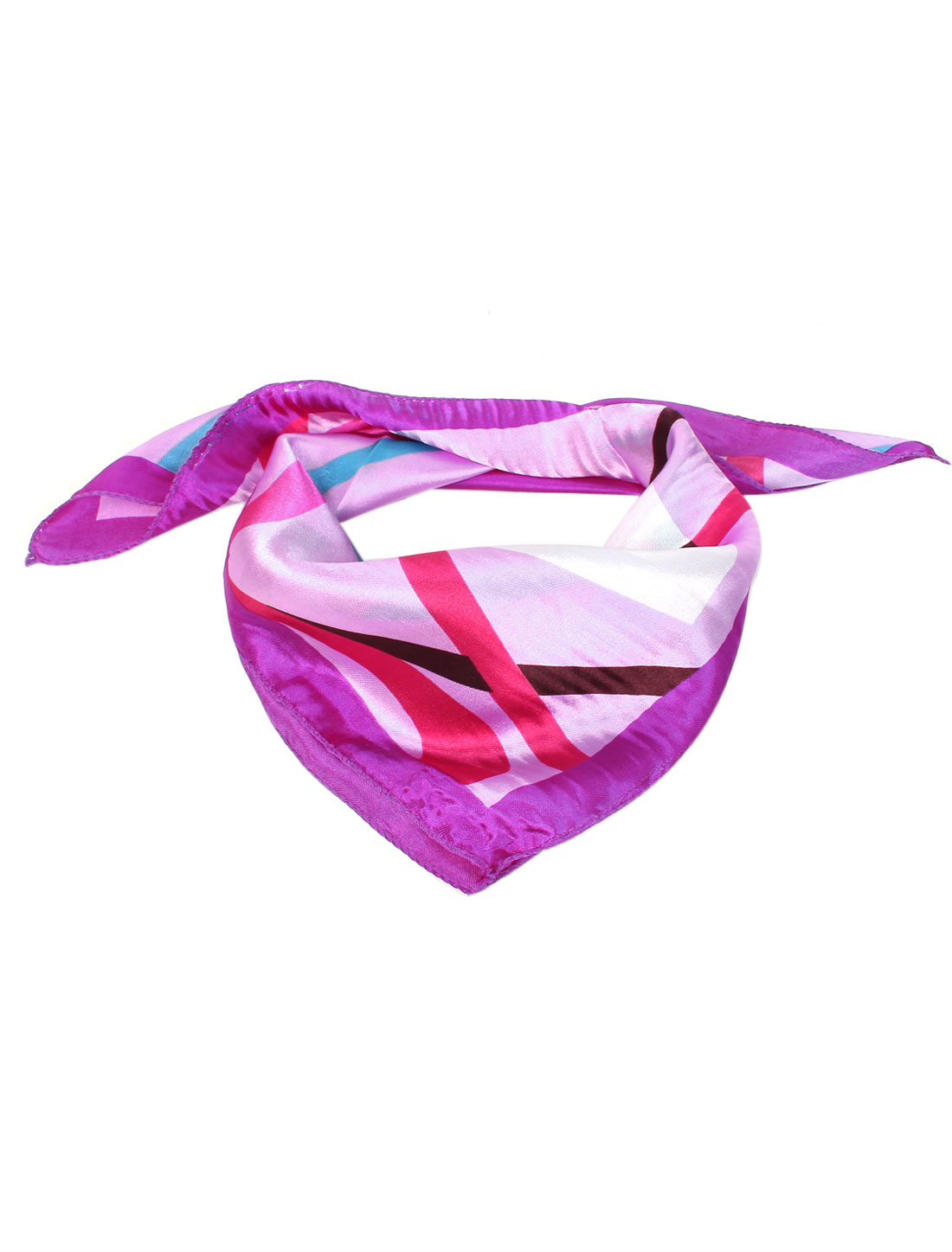 Ladies Novelty Pattern Square Neck Head Scarf Wrap Kerchief Multicolor