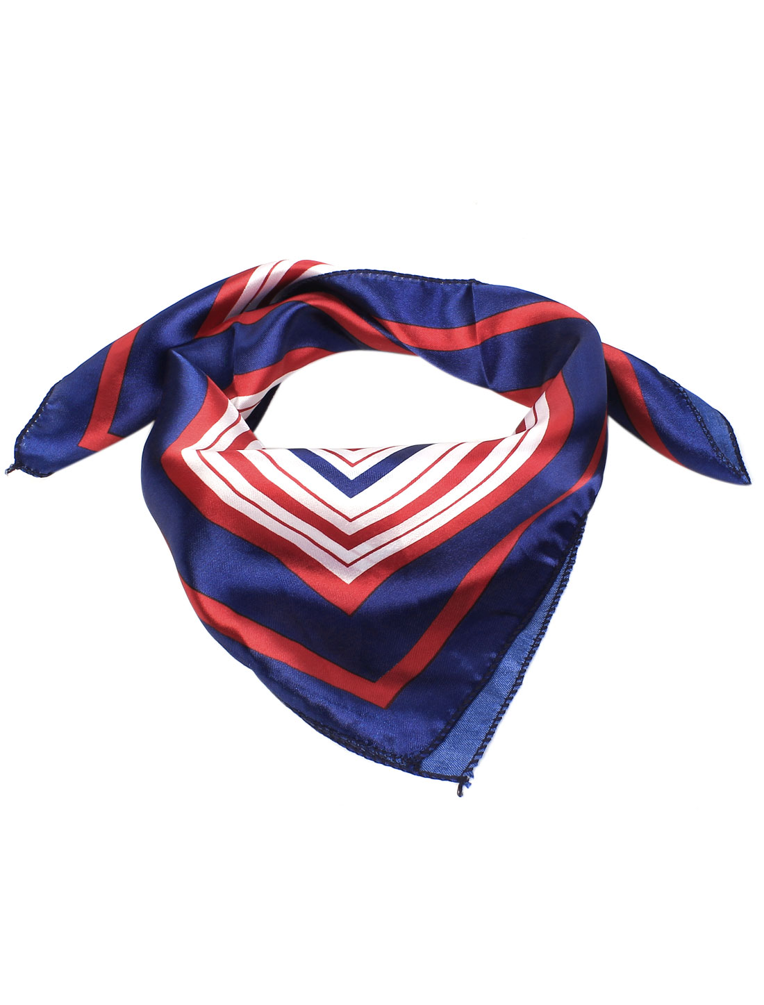 Women Square Pattern Polyester Square Neck Head Scarf Wrap Kerchief Tricolor