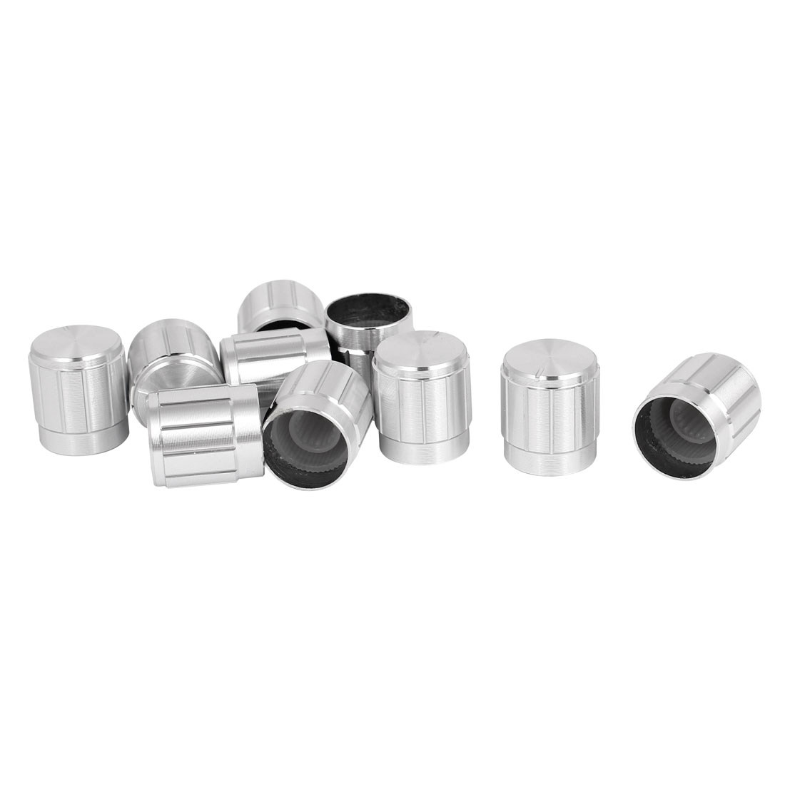 10pcs 15x16mm Silver Tone Aluminum Alloy Rotary Potentiometer Knobs Cap