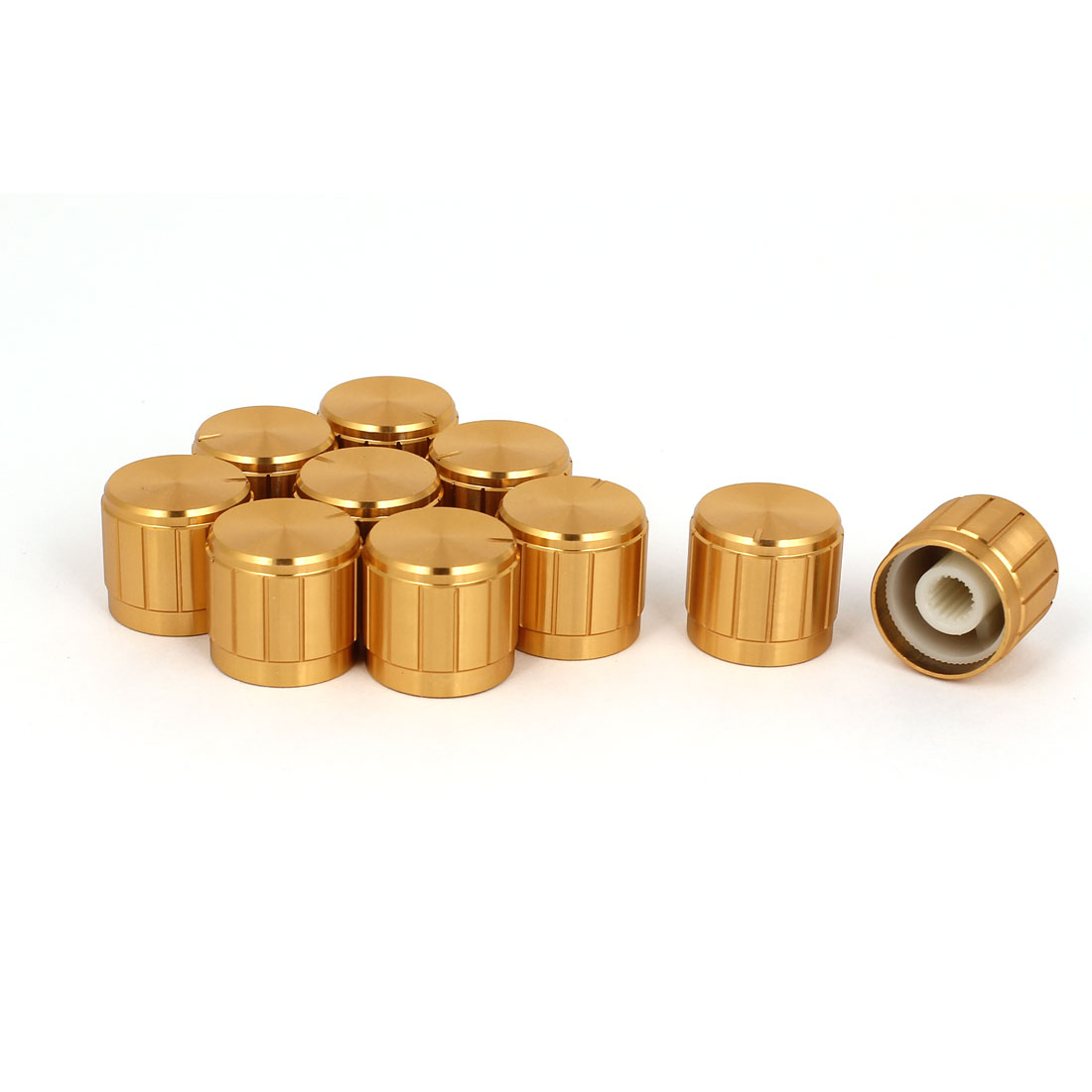 10pcs 19x17mm Gold Tone Aluminum Alloy Rotary Potentiometer Knobs Cap