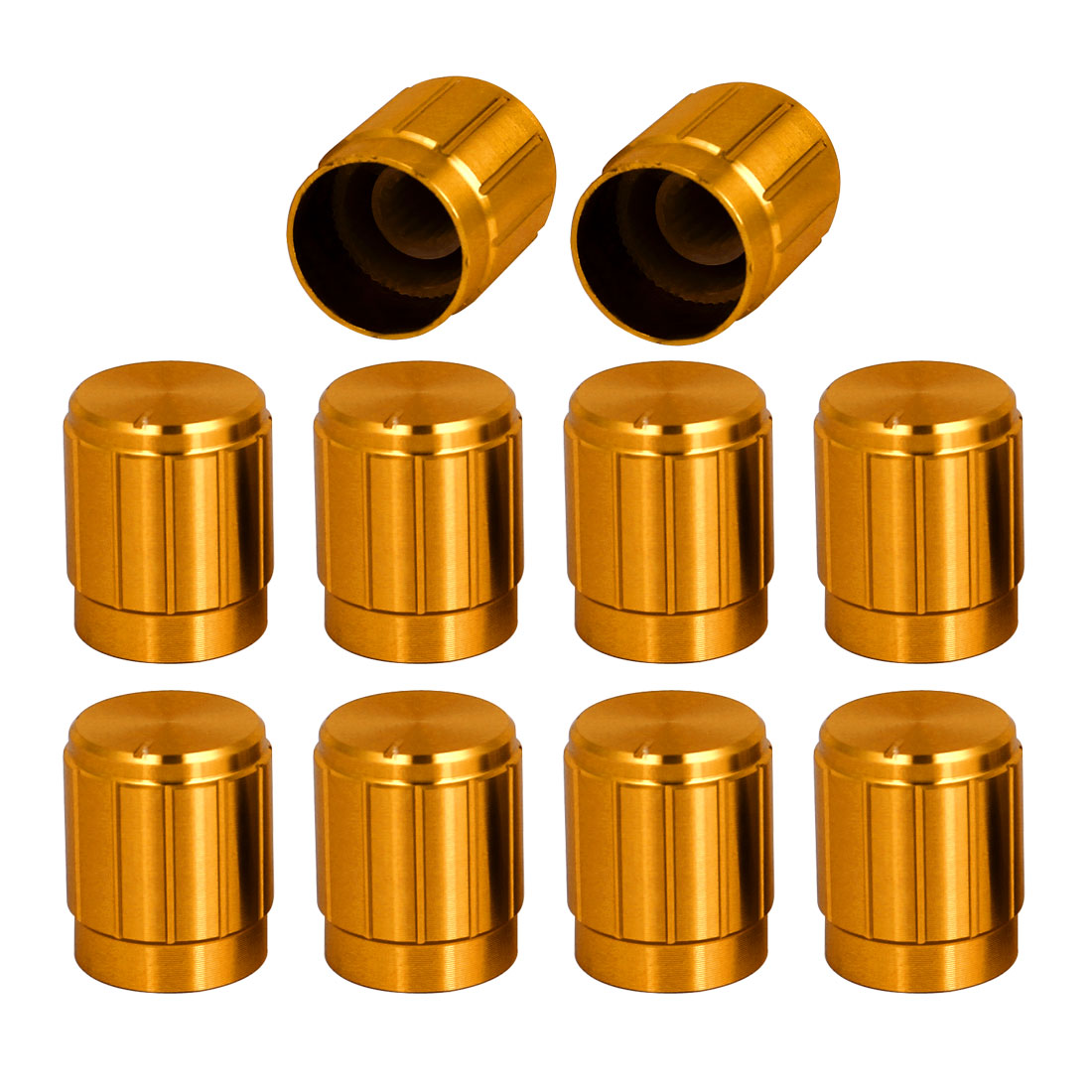 10pcs 14.8x18mm Gold Tone Aluminum Alloy Rotary Potentiometer Knobs Cap