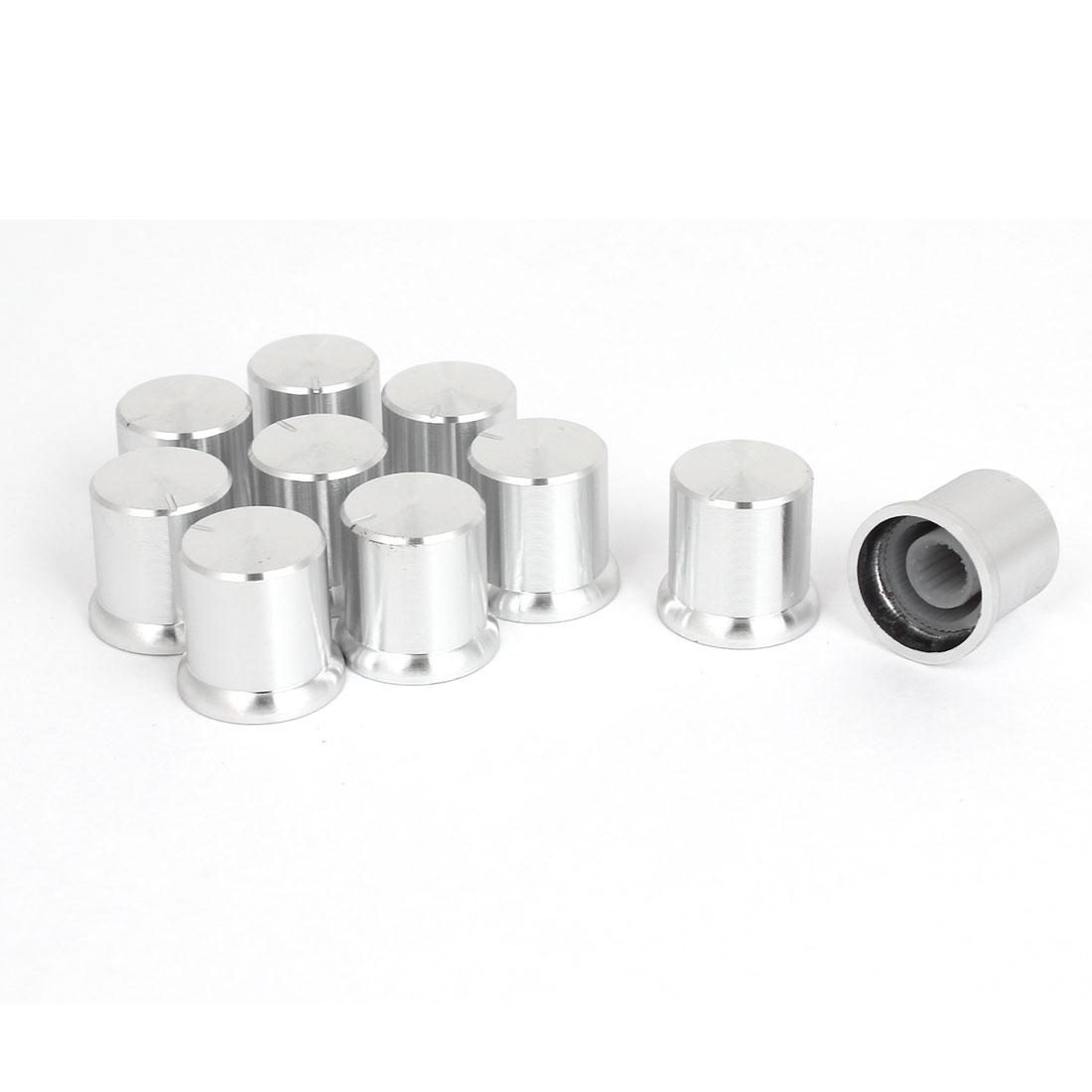 10pcs 17x16mm Silver Tone Aluminum Alloy Rotary Potentiometer Knobs Cap