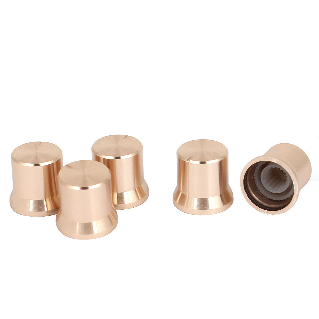5pcs 15x13.5mm Gold Tone Rotary Potentiometer Control Volume Knobs Cap