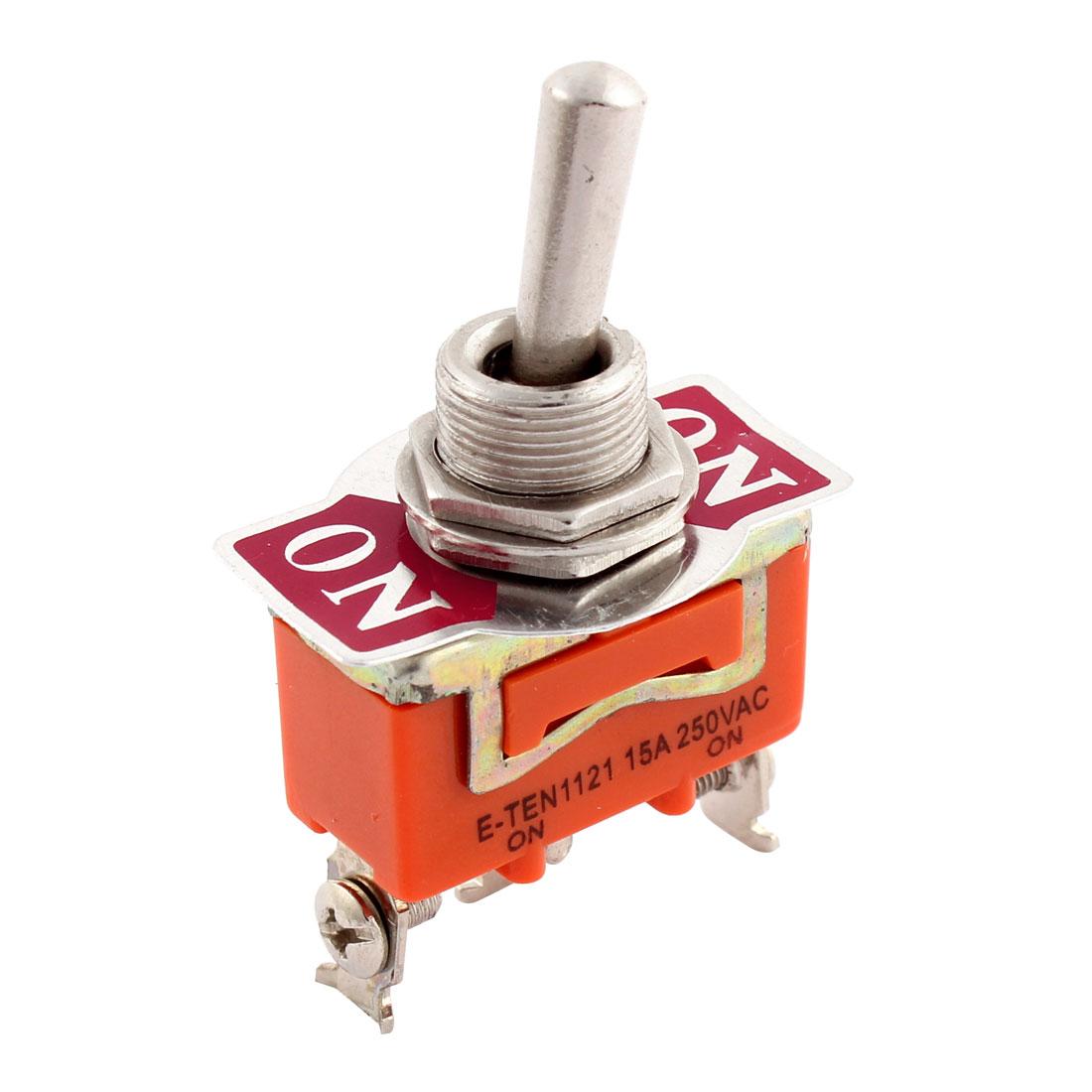E-TEN1121 15A 250V AC 3-Pin SPDT ON-ON Mini Toggle Switche Orange Silver Tone