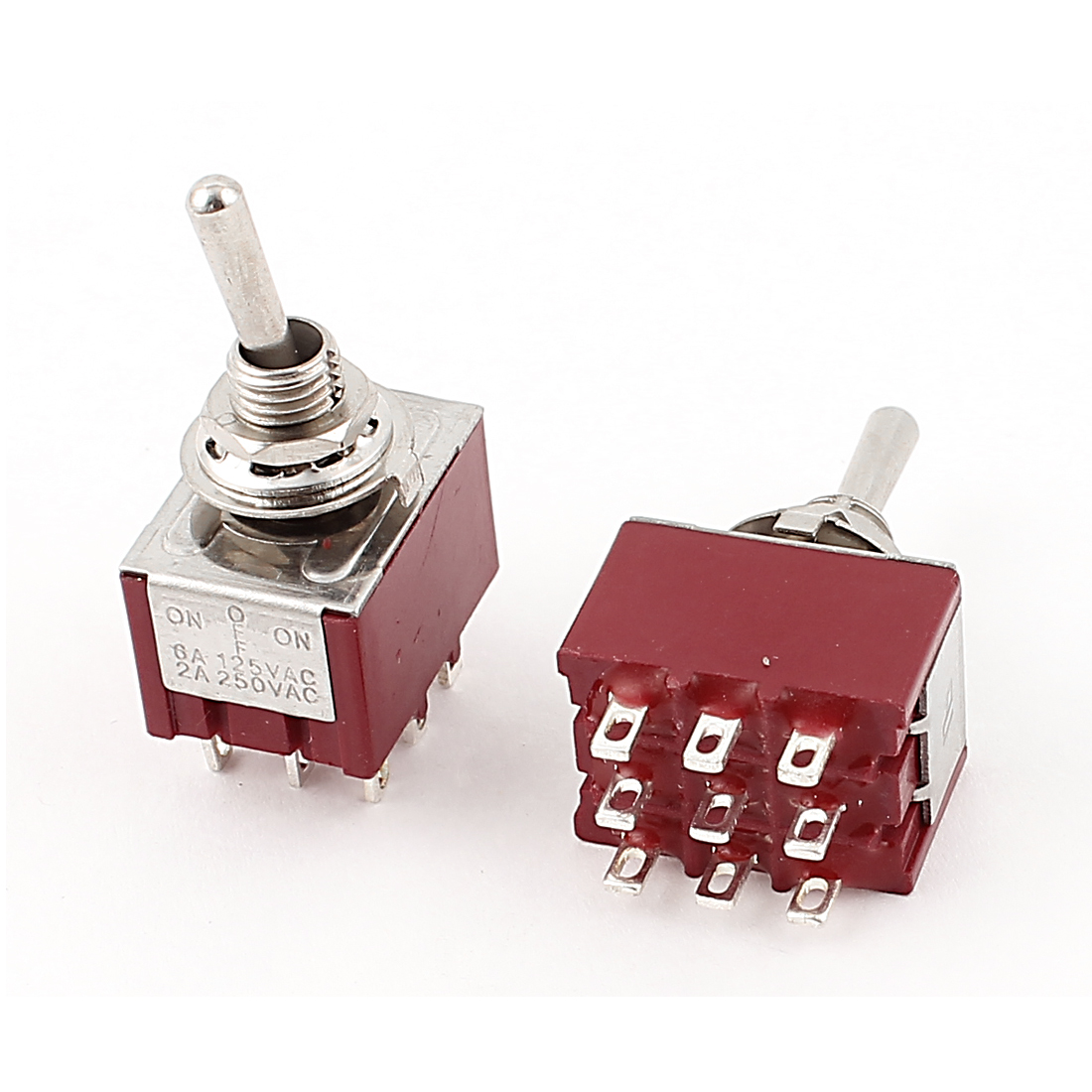 AC 250V 2A 3 Positions ON OFF ON 3PDT Latching Toggle Switch