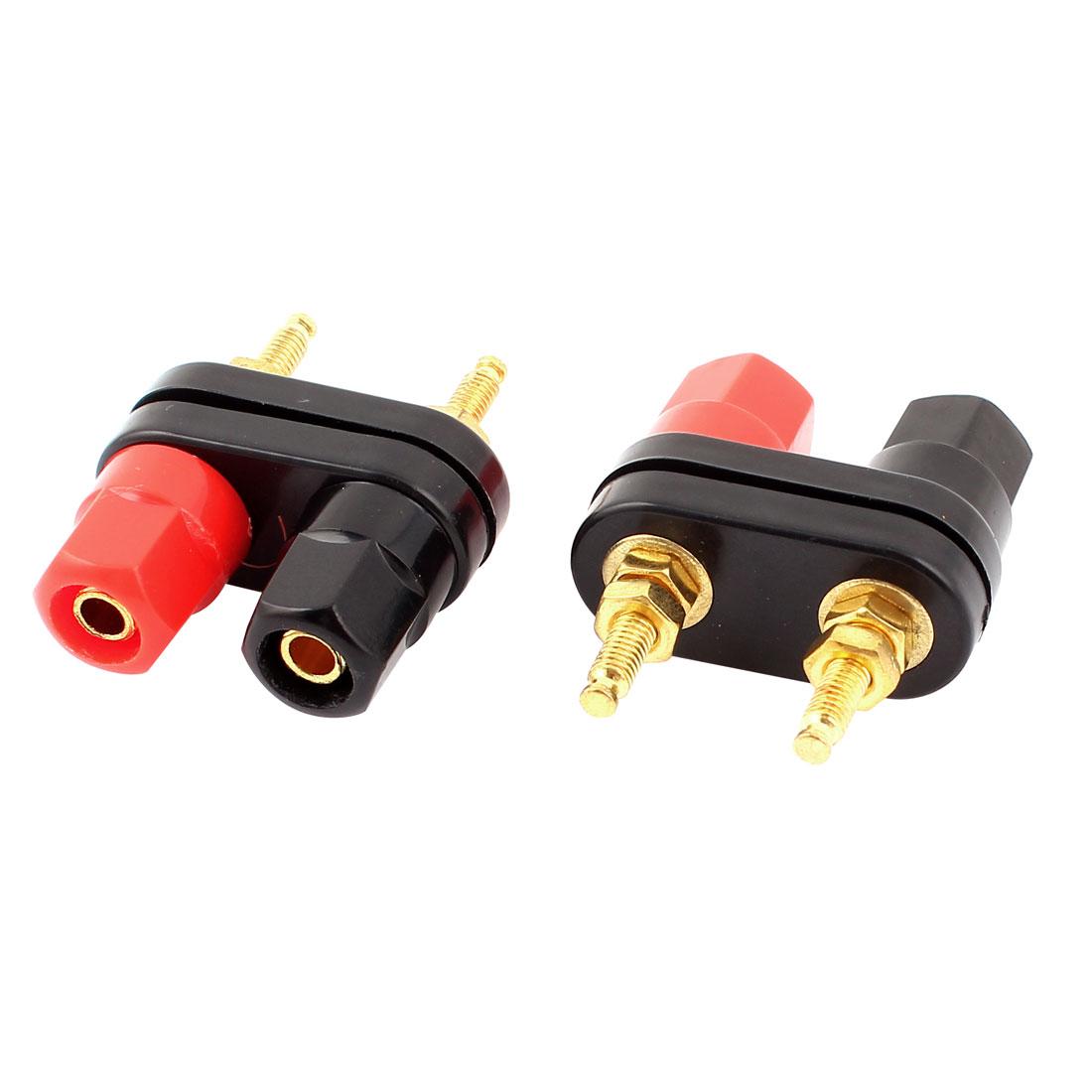 Plastic Cap Audio Speaker Amplifier Dual Banana Binding Post Black Red 2Pcs