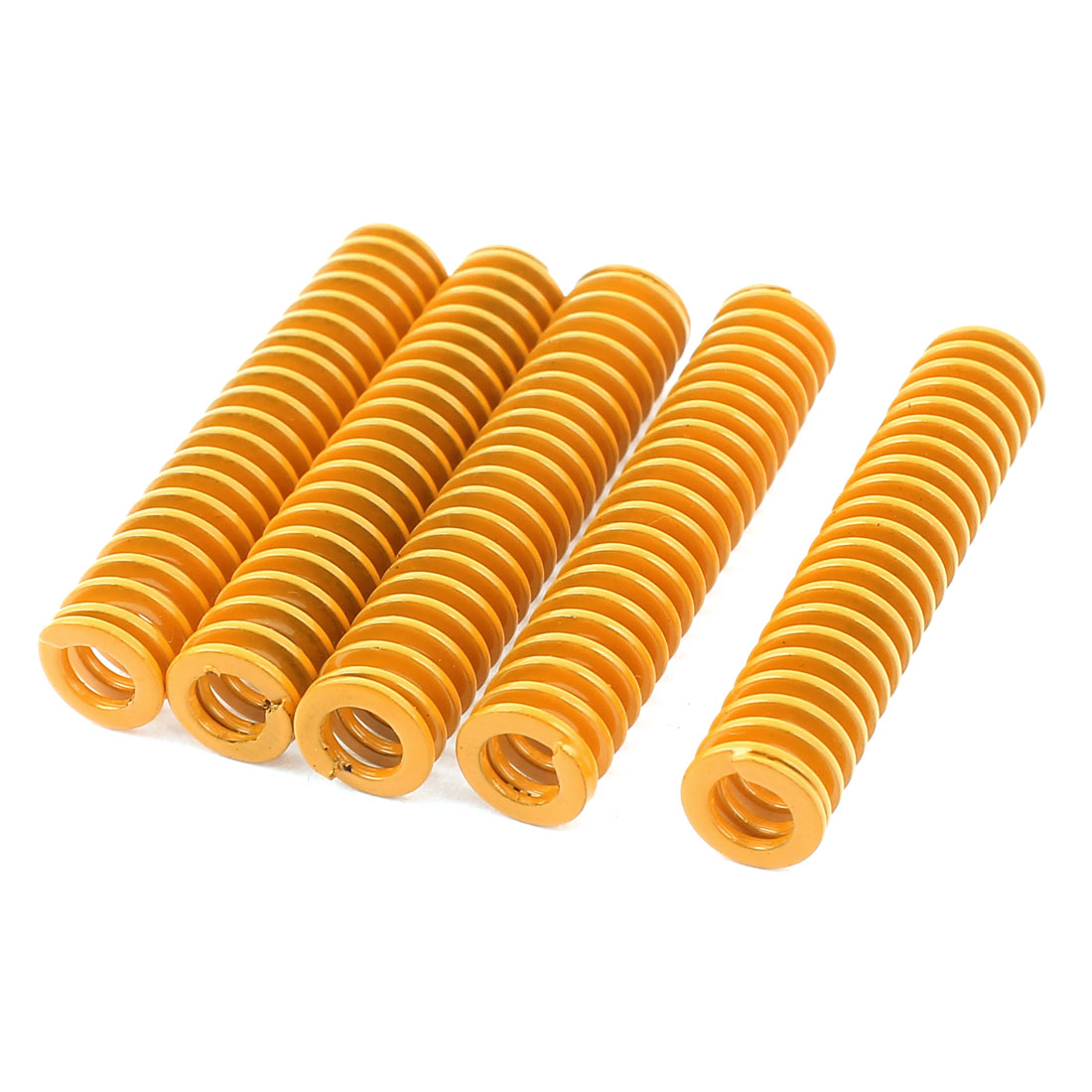 8mmx40mm Mechanical Metal Spiral Compression Coil Spring Yellow 5 Pcs